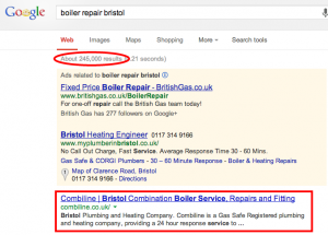 Boiler repair Google Result